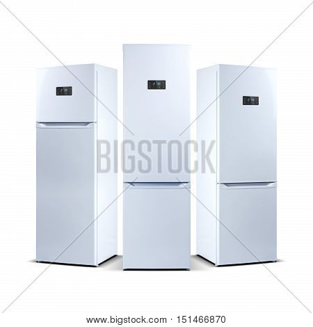 Three refrigerators isolated on white. The external LED display, with blue glow. Fridge freezer