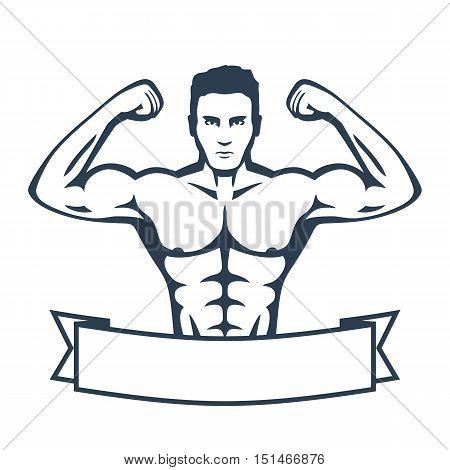 Posing athlete, strong bodybuilder, man isolated on white, vector illustration