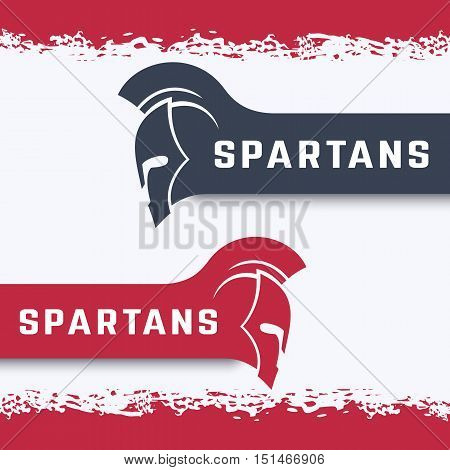 Spartans logo with warrior helmet with mohawk in red and gray, vector illustration