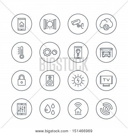 smart house technology system line icons in circles, home automation control system, smart house pictogram, vector illustration