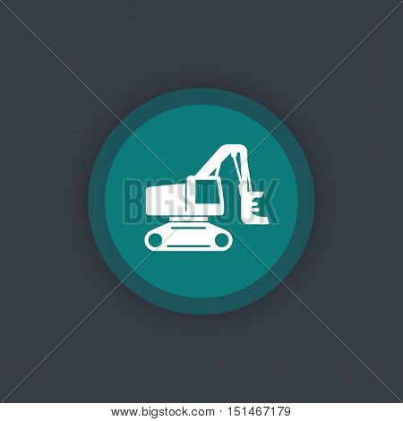 Forest harvester icon, track feller buncher, timber harvesting machine round flat icon