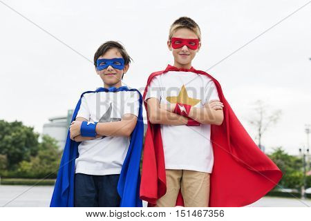 Superhero Boys Friends Brother Buddy Concept