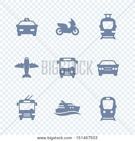 Passenger transport icons, public transportation, subway, car, taxi, airplane, ship, simple isolated icons, vector illustration