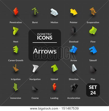Color icons set in flat isometric illustration style, vector symbols - Arrows collection