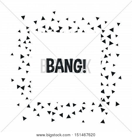 Triangle geometric background. Vector illustration for modern abstract design. Trendy decoration pattern template. Explosion burst bang confetti. Black white color.