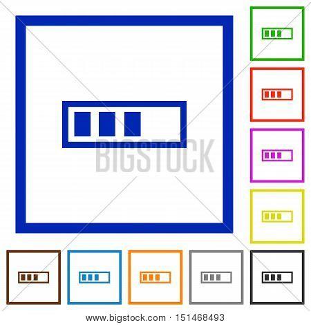 Set of color square framed Progressbar flat icons