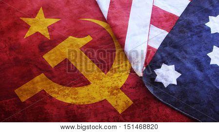 Usa Flag on Urss Flag. Cold War Illustrations.