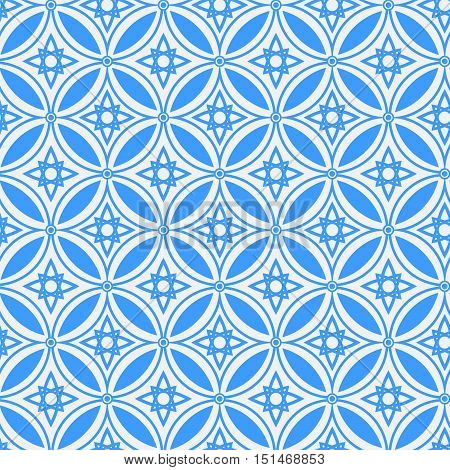 Abstract ethnic geometric vector blue seamless pattern on on a light background . EPS 10.