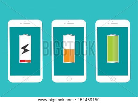 Battery Mobile Phone Full And Low Energy Vector Illustration Flat -