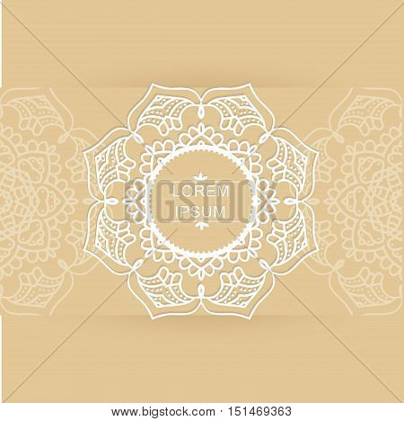 template for cards with a circular ornament and place for your text brown