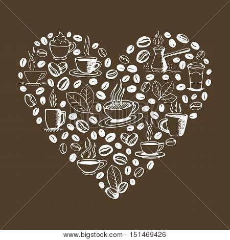 Heart shape filled by hand drawn coffee doodles isolated on brown background. Coffee cup, cezve, beans and leaves symbols. Sketchy vector eps8 illustration.