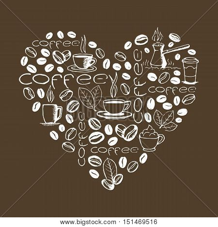 Heart shape filled by hand drawn coffee doodles isolated on brown background. Coffee cup, cezve, beans, leaves symbols and lettering. Sketchy vector eps8 illustration.