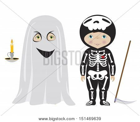 Kids dressed for Halloween or carnival, Cute boy and girl in ghost and skeleton costumes, cartoon vector.