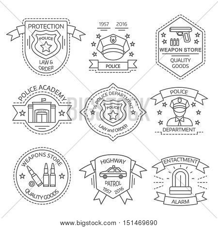 Police label set with police academy weapon store enactment alarm descriptions vector illustration