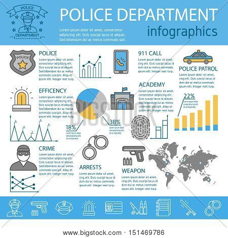 Colored police line infographic with police crime arrests academy weapon descriptions and charts vector illustration