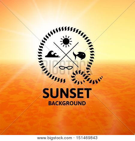 Yellow sunset with orange water sea surface, perspetive landscape in sunny fog, soft vibrant multicolored vector background illustration