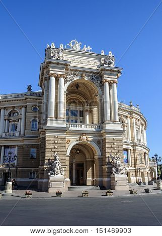 Main entrance of the Odessa National Academic Theatre of Opera and Ballet Odessa Ukraine