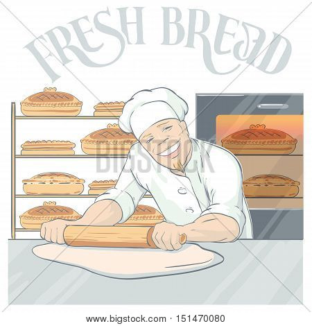 Flat cartoon style background with smiling baker character rolling out pastry in bakehouse with finished fresh bread vector illustration