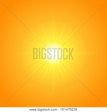 Sun With Lens Flare Lights Template And Vector Background.