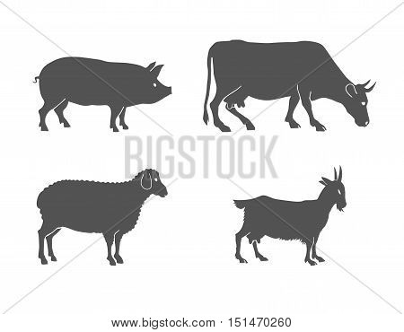 vector set of farm animals cow, sheep, goat, pig