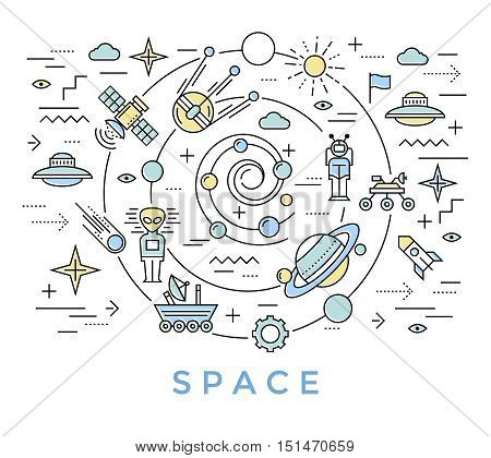Space line art with big swirl on which satellites and flying objects are moving in the universe vector illustration