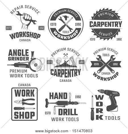 Work tools black white emblems with wrench plane and hand drill pliers and gringer isolated vector illustration