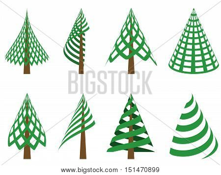 set of abstract conifers christmas trees collection isolated on white background