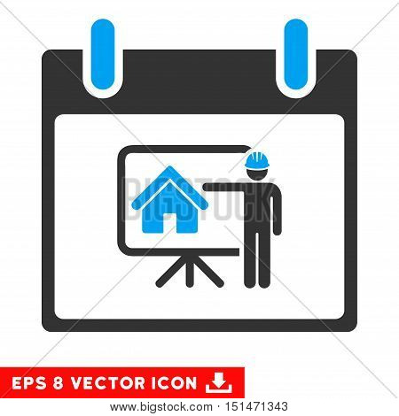 Realty Developer Calendar Day icon. Vector EPS illustration style is flat iconic bicolor symbol, blue and gray colors.