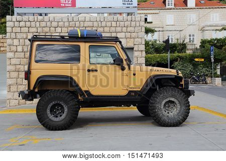 DUBROVNIK, CROATIA - SEPTEMBER 8, 2016: This is Jeep Wrangler - terrain vehicle manufactured by the American company Chrysler.