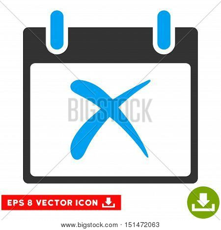 Reject Calendar Day icon. Vector EPS illustration style is flat iconic bicolor symbol, blue and gray colors.