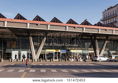 Naples Italy - August 6 2016: Central Station in Piazza Garibaldi a facade with various inputs of the Naples train station.