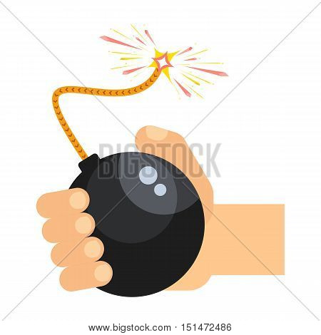 Hand holds Black bomb with lit wick. Flat cartoon bomb illustration. Objects isolated on a white background.