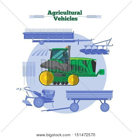 Farm machines flat design with green yellow combine cereals and agricultural equipment in blue color vector illustration