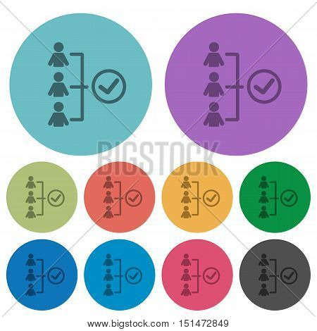 Color successful teamwork flat icon set on round background.
