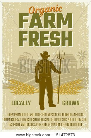 Farm retro style poster with silhouette of man with fork on rural landscape background vector illustration
