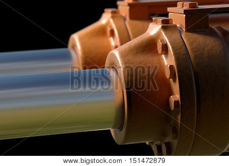 yellow hydraulic pistons with bolt and nut 3d render