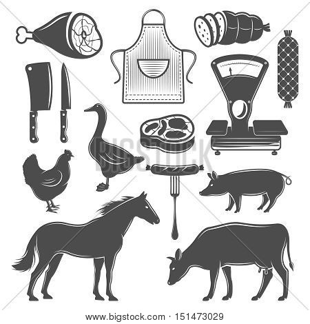 Butchery monochrome elements set with farm animals and meat products apron and knives scales isolated vector illustration