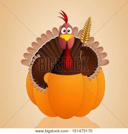 an illustration of turkey in pumpkin for Thanksgiving Day
