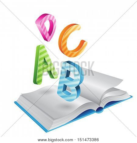 Illustration of Flying Striped Letters and Open Book isolated on a White Background