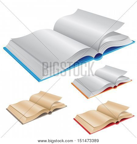 Illustration of New and Old Open Books isolated on a White Background