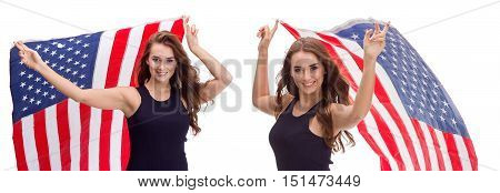 Happy Young Girl Holding Usa Flag Isolated On White Background