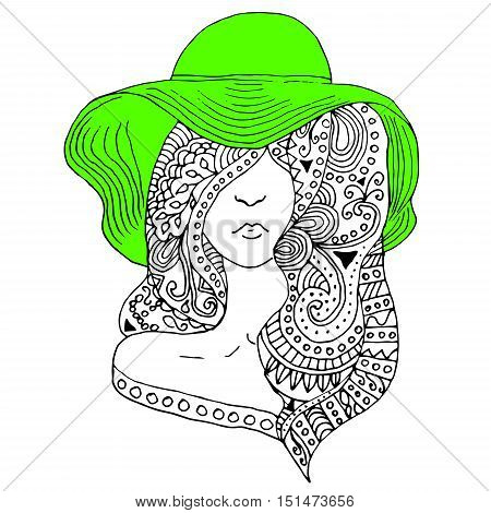 young pretty girl with doodle hairs wearing green hat. Fashion illustration. Uncolored image can be used as adult coloring book, coloring page, invitation, greeting card.