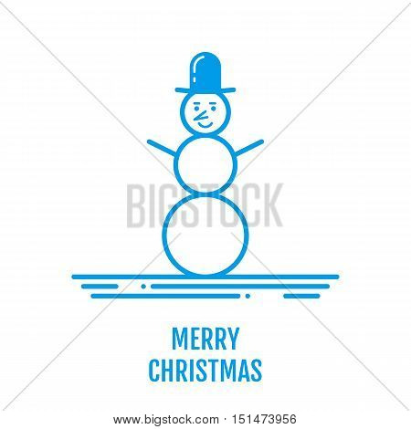 Merry Christmas concept with snowman in hat. New year design for banner web graphics wallpaper page background invitation greeting card flyer poster template. Vector Illustration in outline style.