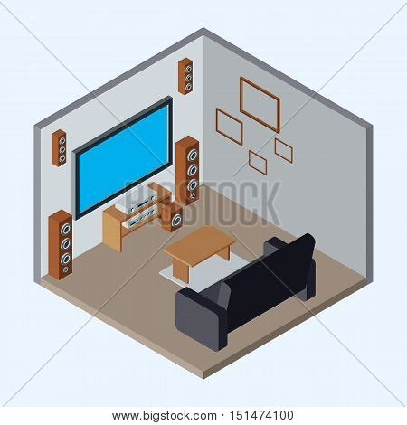 Home theater flat 3d isometric vector illustration