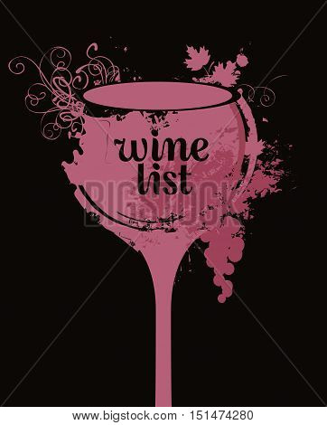 vector banner glass of wine with grapes with spots and splashes of Wine list