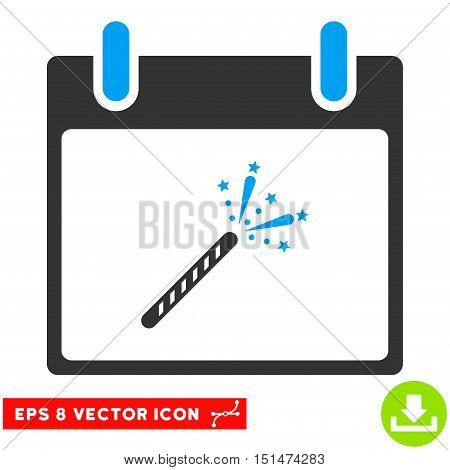 Sparkler Firecracker Calendar Day icon. Vector EPS illustration style is flat iconic bicolor symbol, blue and gray colors.