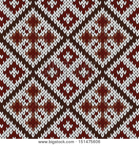Knitting Ornate Seamless Pattern In White, Red And Brown Hues