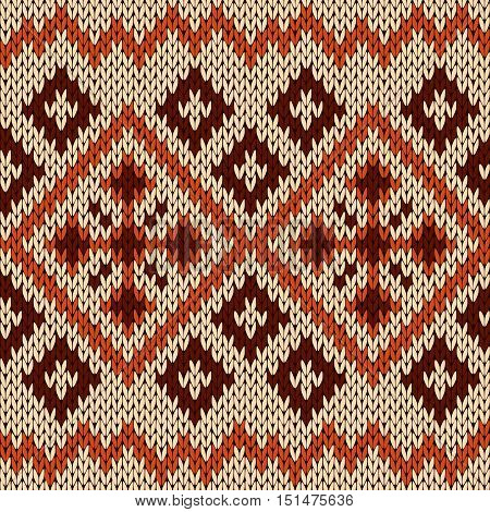 Knitting Seamless Pattern In Orange, Beige And Brown Hues