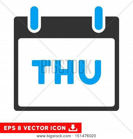 Thursday Calendar Page icon. Vector EPS illustration style is flat iconic bicolor symbol, blue and gray colors.