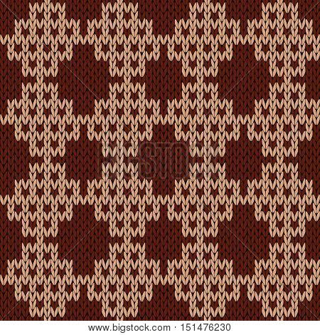 Knitting Seamless Ornate Pattern In Brown And Cocoa Colors